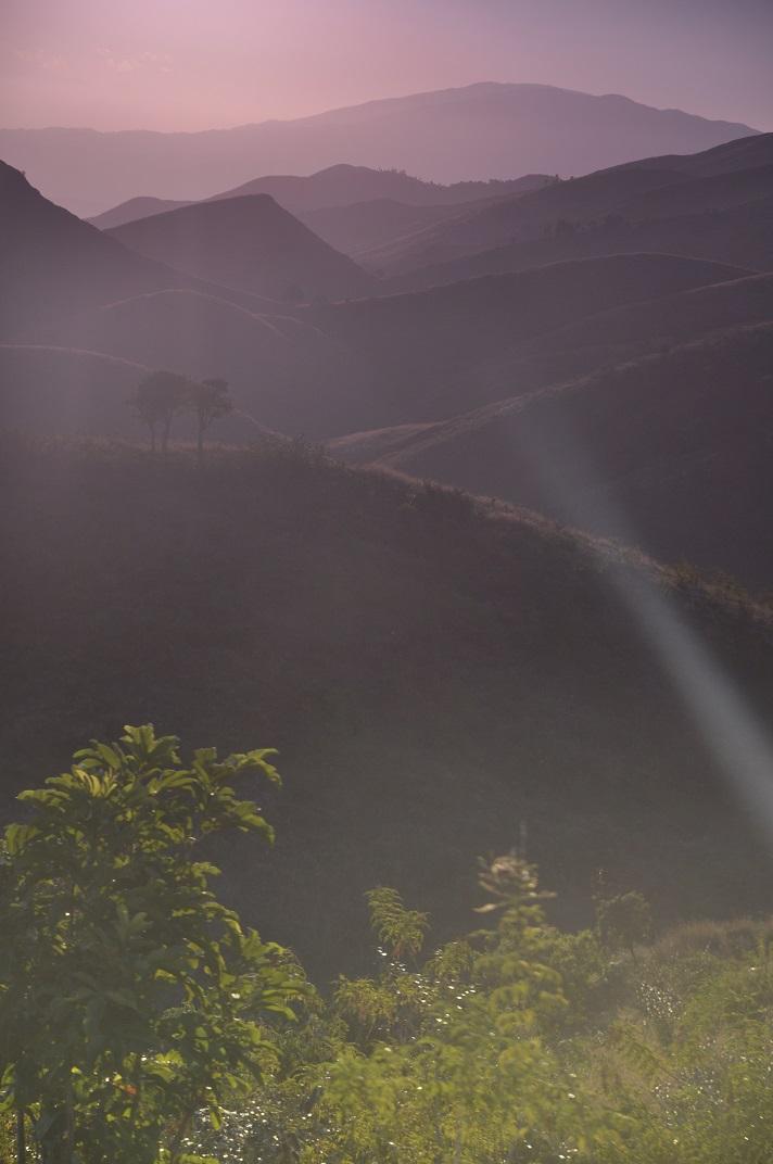 Haiti scenery at sunrise in the mountains