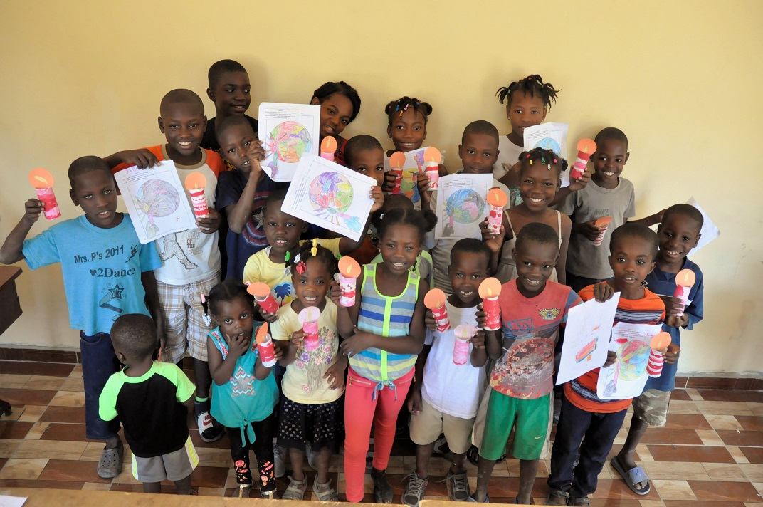 Haitian school children after bible study and crafts